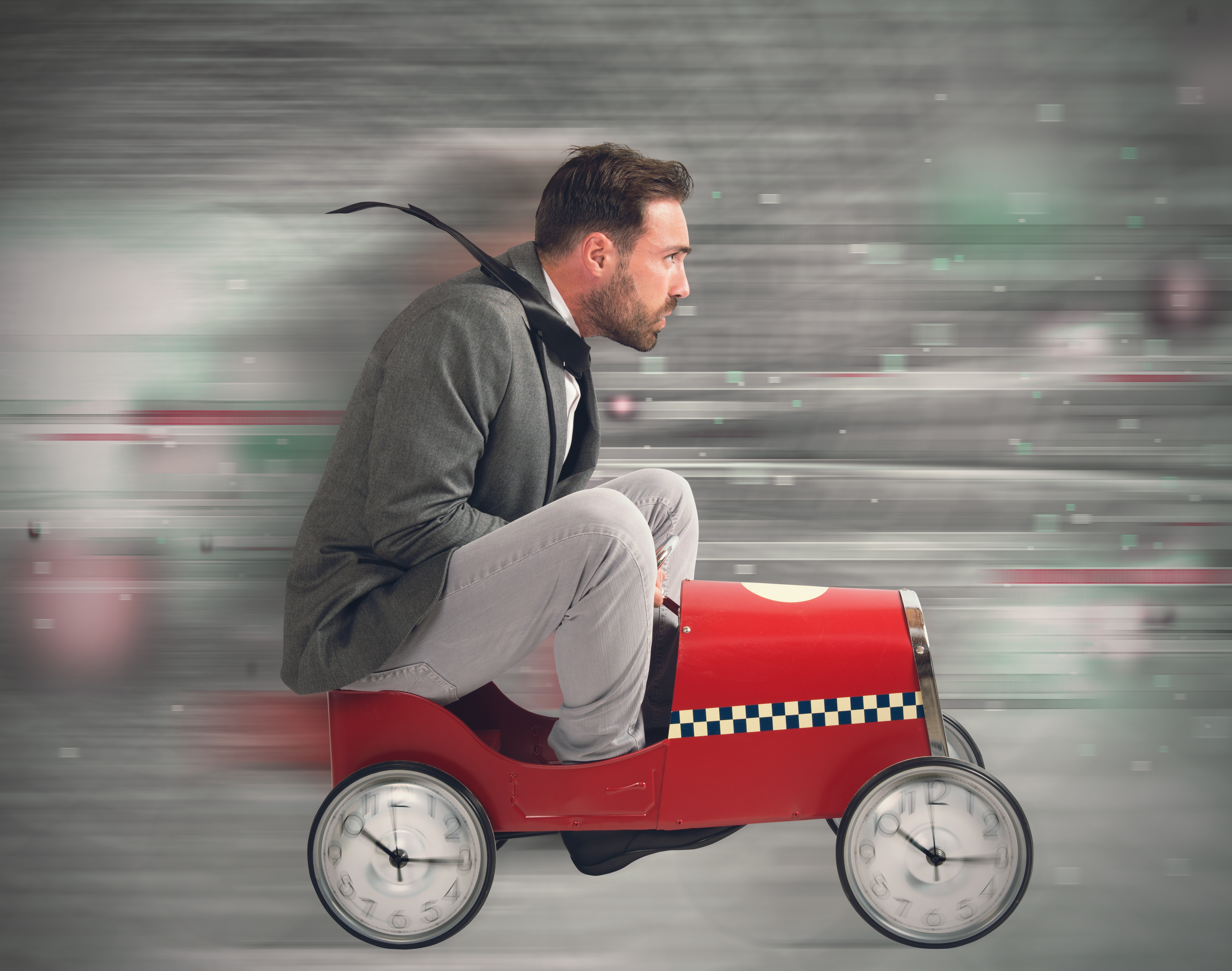 man in toy car